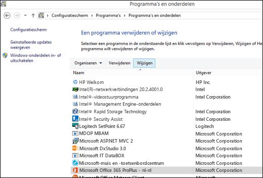 Klik op Wijzigen in het onderdeel Een programma wijzigen of verwijderen om een herstelbewerking te starten voor Microsoft Office