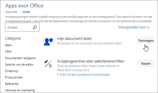 Schermafbeelding van de pagina met Apps voor Office in de winkel waar u kunt selecteren of in de zoekresultaten voor een app voor Word.
