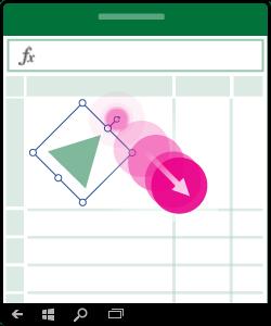 Illustratie waarin wordt getoond hoe een object moet worden gedraaid