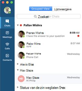 Schermafbeelding van de gegroepeerde weergave in Skype voor Bedrijven voor Mac