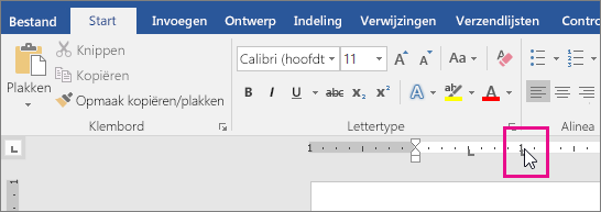 Een tab is gemarkeerd op de liniaal.