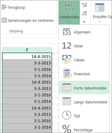 datums vanaf het lint wijzigen in korte datumnotatie