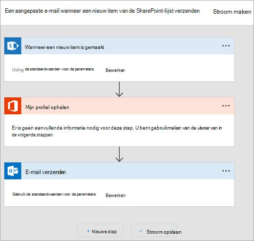 Volg de instructies op de website Microsoft Flow verbinding maken met de stroom