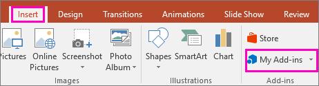 Hiermee wordt Invoegen > Mijn invoegtoepassingen op het lint in PowerPoint weergegeven
