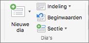 Schermafbeelding van de groep Dia's met de opties Nieuwe dia, Indeling, Opnieuw instellen en Sectie.