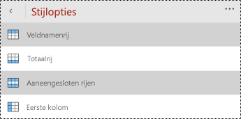 Menu koptekst op het tabblad tabel in PowerPoint voor Windows Phones