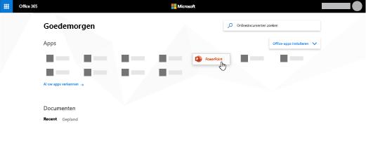 De startpagina van Office 365 met de PowerPoint-app gemarkeerd