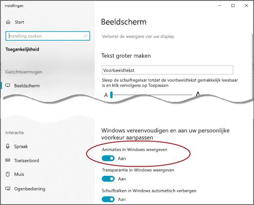 Het toegankelijkheids menu van Access met de optie animaties weergeven in Windows gemarkeerd.