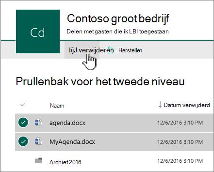 Gemarkeerde knop Leegmaken voor Prullenbak voor tweede stadium van SharePoint Online