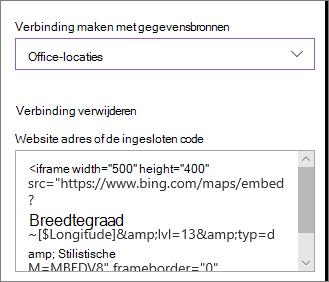 Voorbeeld van de ingesloten code locaties tonen
