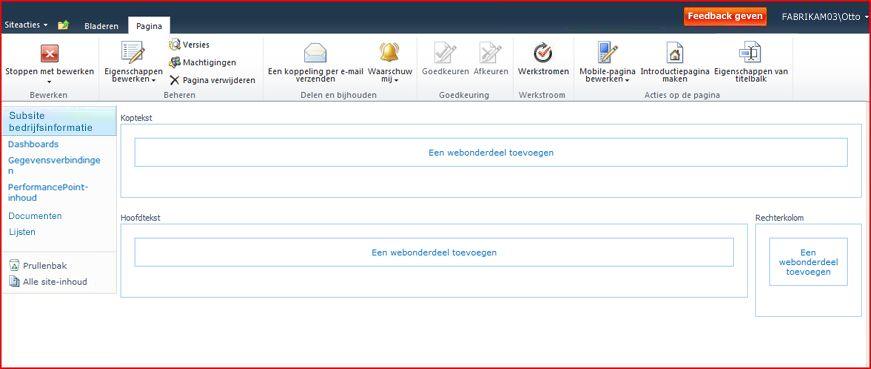 Een pagina met webonderdelen bevat zones voor het toevoegen van webonderdelen.