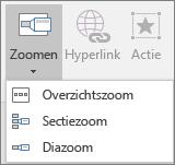 Hiermee worden andere zoomtypen weergegeven die kunnen worden geselecteerd wanneer u kiest voor Invoegen > Zoom: Overzichtszoom, Diazoom en Sectiezoom.