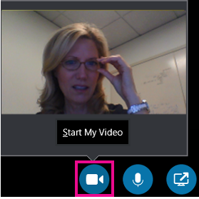 Klik op het videopictogram om de camera voor een videochat in Skype for Business te starten.