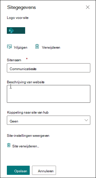 Venster Sitegegevens van SharePoint