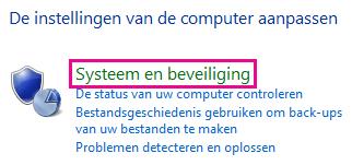 De koppeling Systeem en beveiliging in het Configuratiescherm van Windows 8