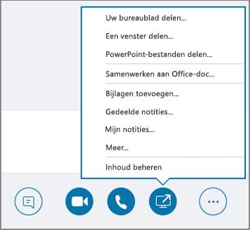 Schermafbeelding van het geopende menu Inhoud delen.