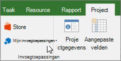 Schermafbeelding van een gedeelte van het tabblad Project op het lint met een cursor die wijst naar de vervolgkeuzelijst van mijn invoegtoepassingen. Selecteer Mijn invoegtoepassingen een recent gebruikte invoegtoepassing selecteert, alle invoegtoepassingen beheren of gaat u naar de Office Store voor nieuwe invoegtoepassingen.