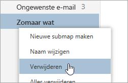 Een schermafbeelding van het contextmenu Mappen met de optie Verwijderen geselecteerd