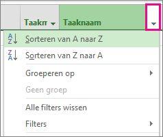 Afbeelding van het menu Taaknaam met de optie Sorteren van A naar Z geselecteerd