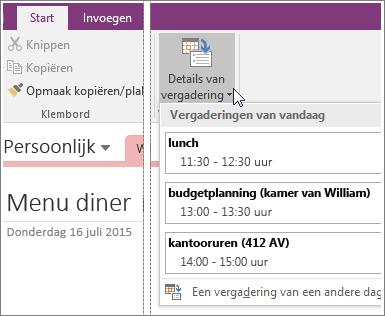 Schermafbeelding van de knop Details van vergadering in OneNote 2016.