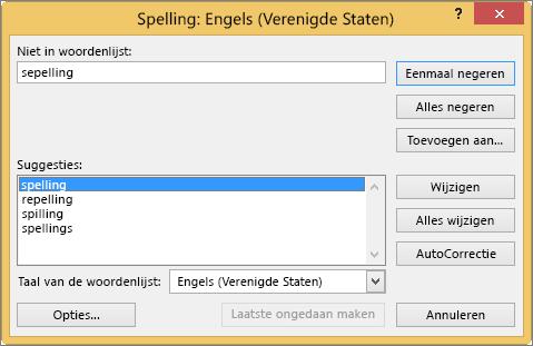 Dialoogvenster Spelling