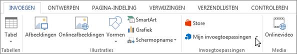 Schermafbeelding van het tabblad invoegen op het lint van Word met een cursor die wijst naar de Store. Selecteer opslaan om te gaan naar de Office Store en zoek invoegtoepassingen voor Word.