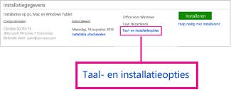 Opties voor taal en installeren