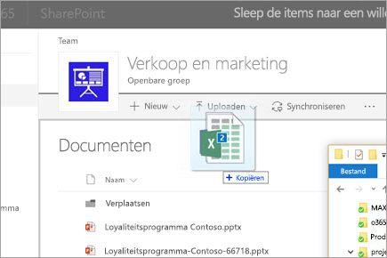 Een bestand naar een SharePoint-documentbibliotheek slepen
