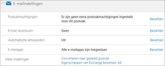 Schermafbeelding: Office 365-e-mailinstellingen