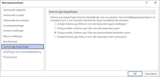 Kies de optie die u wilt gebruiken in Visio voor externe App koppelingen.
