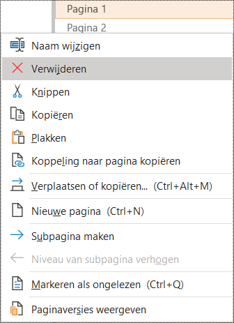 Dialoogvenster Pagina verwijderen in OneNote voor Windows