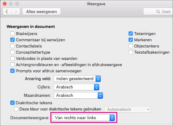 Opties voor documentweergave in het dialoogvenster Weergave