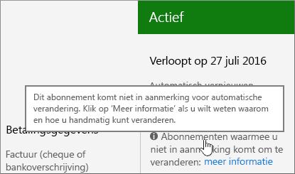Het bericht dat aangeeft dat het abonnement niet in aanmerking komt voor automatische verandering.