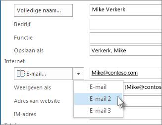 Een extra e-mailadres toevoegen voor een contactpersoon