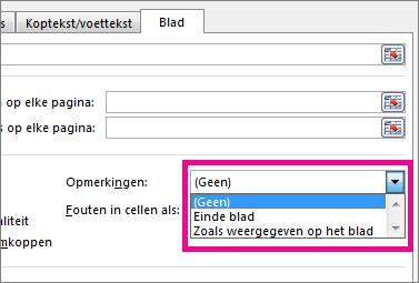 Kies een optie onder Opmerkingen op het tabblad Blad