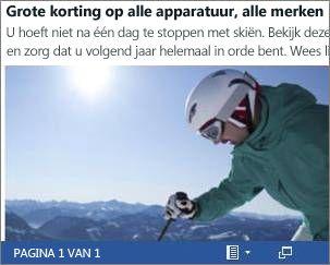 Een ingesloten Word-document van een flyer voor uitverkoop van ski's