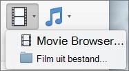 Scherm afbeelding van de film browser en de film uit bestands opties die beschikbaar zijn in de vervolg keuzelijst video. Selecteer een optie om een film in uw Power Point-presentatie in te voegen.
