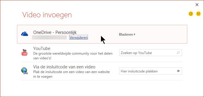 Het dialoogvenster Video invoegen bevat een optie om een video vanuit OneDrive in te sluiten.