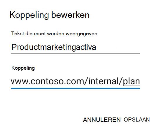 Dialoogvenster Koppeling bewerken in Outlook voor Android.