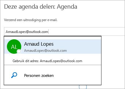 Schermafbeelding van het dialoogvenster Agenda delen in Outlook.com.