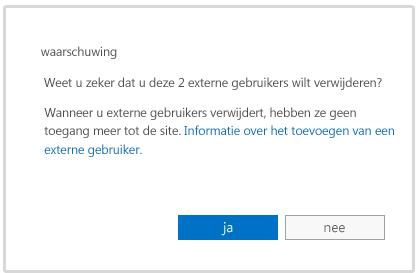 waarschuwingsbericht wanneer u op het punt staat om het account van een externe gebruiker te verwijderen