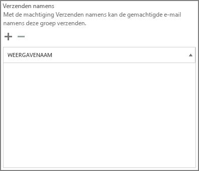 Schermafbeelding: kies het plusteken om de gebruikers toe te voegen die e-mail mogen verzenden als de Office 365-groep.