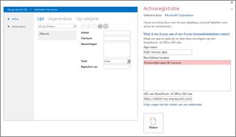 Voorbeeld van de app Activaregistratie