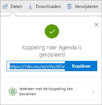 Bevestiging van koppeling kopiëren bij het delen van bestanden via een koppeling in OneDrive