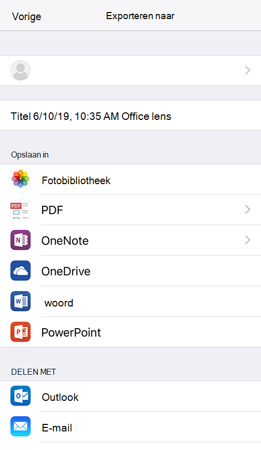Export opties in Office lens voor iOS