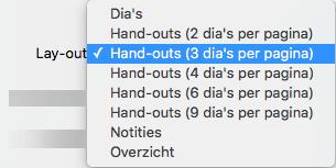 Indeling Hand-out selecteren in het dialoogvenster Afdrukken