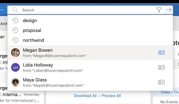 Details van contactpersonen weergeven in zoeksuggesties