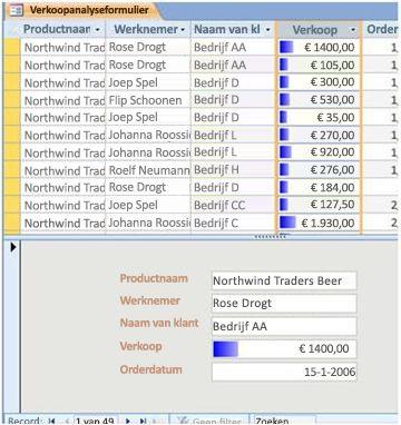 toont gegevensbalken in een gesplitste formulierweergave