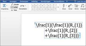 Word-document met een LaTex-vergelijking