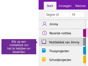 Schermafbeelding van de lijst Notitieblokken in OneNote